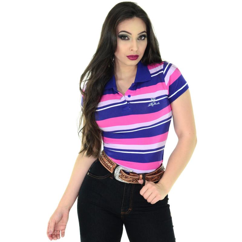 Polo Feminina Radade Listra rosa e Roxo af77a88b5291e
