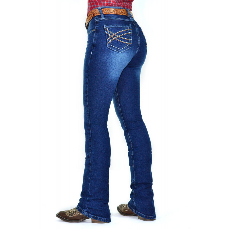 6eaf33af6 Calça Jeans Feminina Cowboy ST Lycra Boot Cut Azul