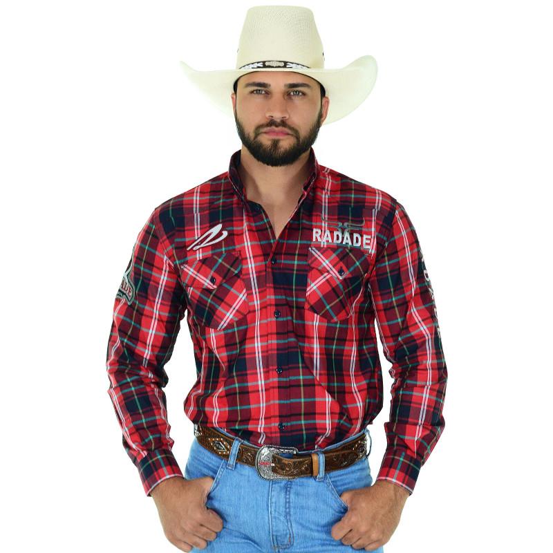 4cbfe77132ee6 Camisa Masculina Radade Manga Longa Xadrez Bordada Horn Vermelha - 0334