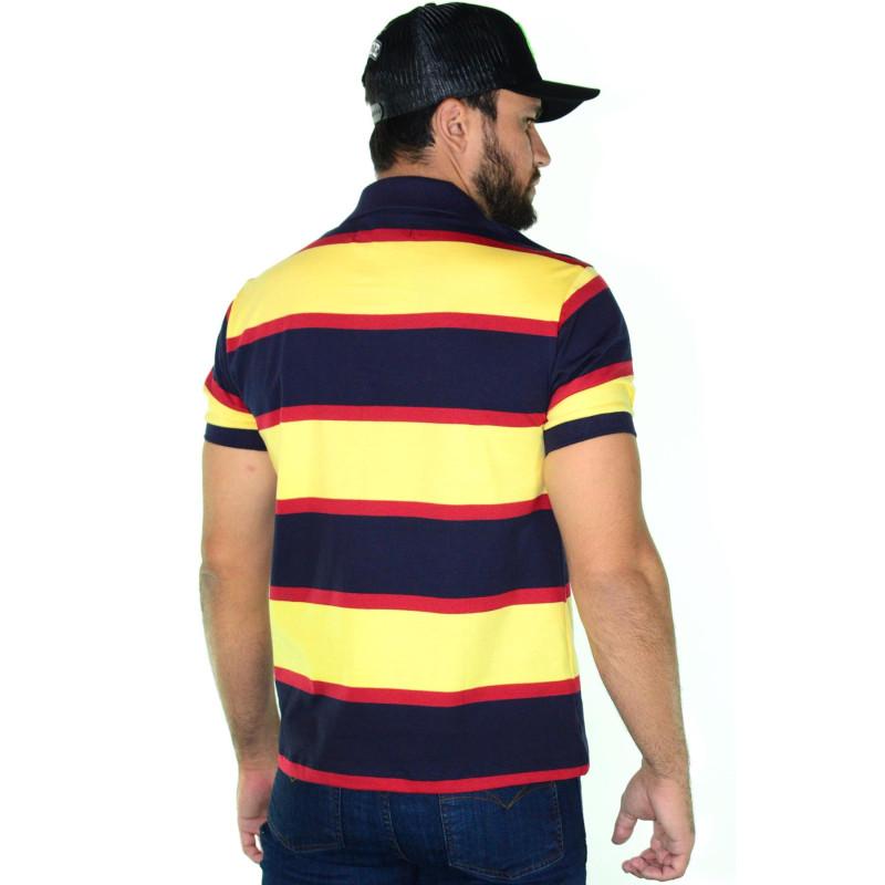 Polo Masculina Radade Listra Amarelo e Marinho cd1becdb2a381