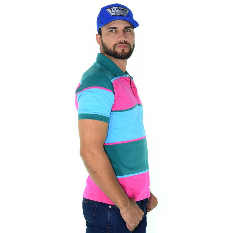 Polo Masculina Radade Listra Rosa Azul Verde f47b006b7af2f