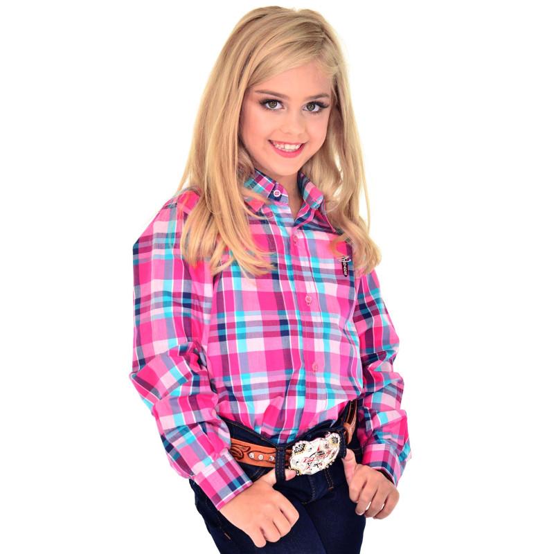 Camisa Radade Infantil Manga Longa Xadrez Rosa - 0675 f6e5f9c75a09a