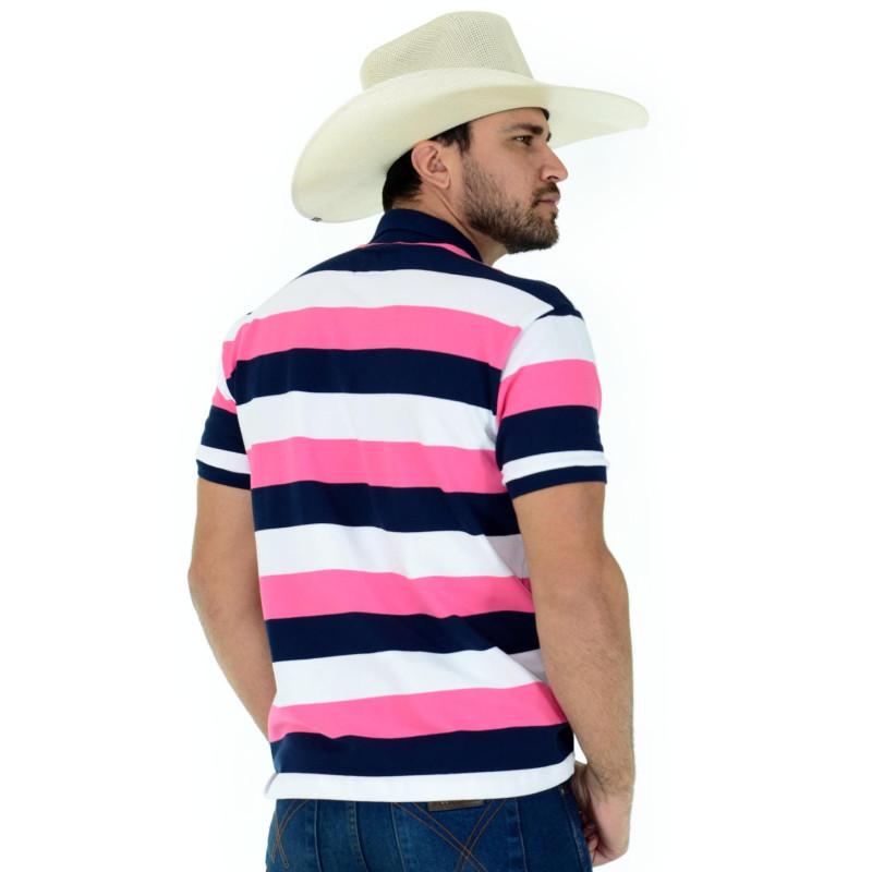 Polo Radade Listra Rosa Branco marinho - 0464 9b6b58c271329