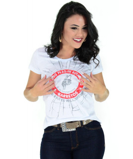 Camiseta Baby Look Barretos Branca - B209