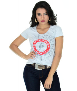 Camiseta Baby Look Barretos Cinza - B211