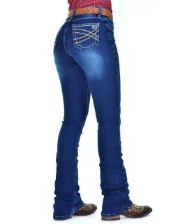 Calça Jeans Feminina Cowboy ST Lycra Boot Cut Azul