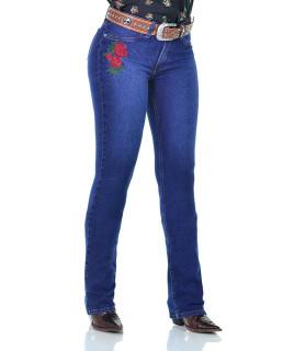 Calça Jeans Feminina Radade CF Lycra Bord Flowers Azul