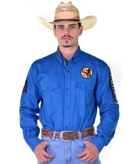 Camisa Cowboy ST Manga Longa Bordada Azul - 0998