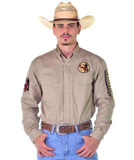 Camisa Cowboy ST Manga Longa Bordada Caqui - 0997