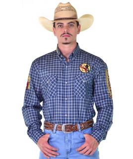 Camisa Cowboy ST Manga Longa Bordada Xadrez Azul - 1000