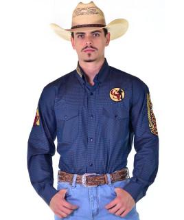 Camisa Cowboy ST Manga Longa Bordada Xadrez Marinho - 1001