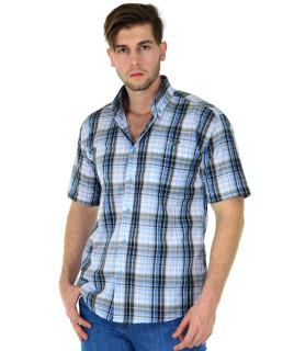 Camisa Fast Bull Manga Curta  Xadrez Azul - 0633