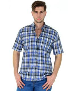 Camisa Fast Bull Manga Curta  Xadrez Azul - 0516