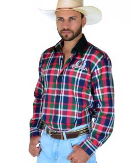 Camisa Masculina Radade MLXB Vermelho e Verde - 0122