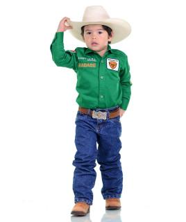 Camisa Radade Infantil Manga Longa Bordada Brands Verde - 1051