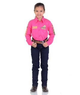 Camisa Radade Infantil Manga Longa Bordada Green Pink - 1054