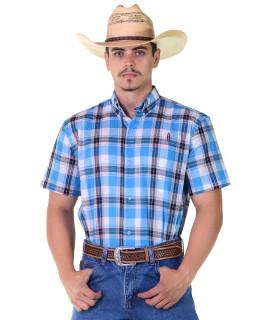 Camisa Radade Manga Curta Xadrez Azul - 1079