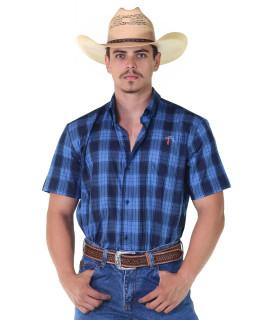 Camisa Radade Manga Curta Xadrez Azul - 1089