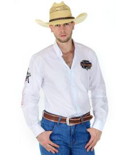 Camisa Radade Manga Longa Bordada Bull Rider Branca - 0183