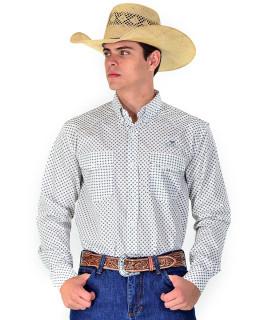 Camisa Radade Manga Longa Print Branco e Preto - 0835