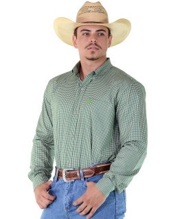 Camisa Radade Manga Longa Xadrez Fifty Verde e Bege - 1137