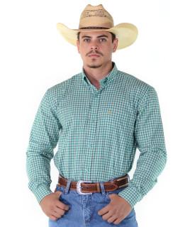 Camisa Radade Manga Longa Xadrez Fifty Verde Água - 1131