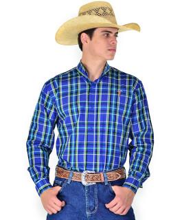 Camisa Radade Xadrez Manga Longa XN Verde e Azul - 0858