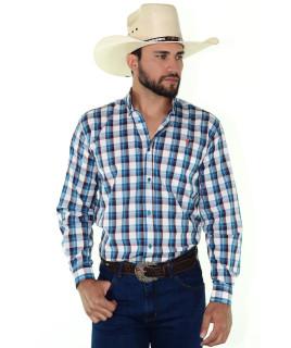 Camisa Radade Xadrez MLXN Azul e Branco - 0265