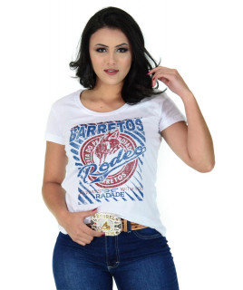 Camiseta Baby Look Barretos Branca - B217