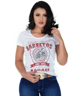 Camiseta Baby Look Barretos Branca - B247