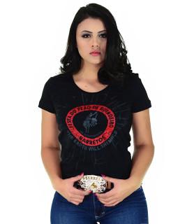 Camiseta Baby Look Barretos Preta - B244