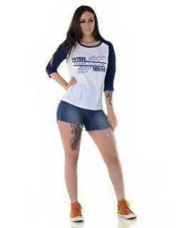 Camiseta Feminina Radade Wish Marinho e Branco - 1157