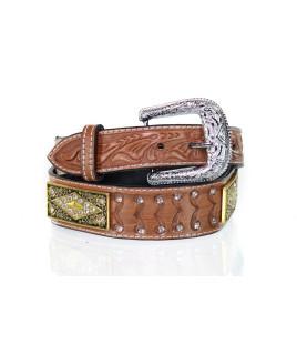 Cinto Max West Belts em Couro Unissex Largo com strass e aplique em metal retângulo - MWB-002
