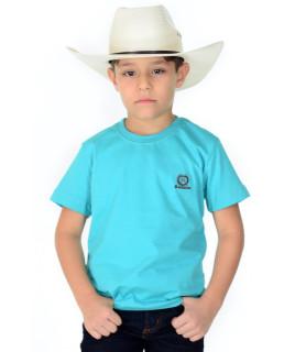 Camiseta Infantil Radade Bordada Azul Celeste - 0418