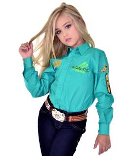 Camisa Radade Infantil Manga Longa Bordada Green Verde água - 0672