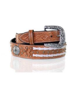 Cinto Max West Belts em Couro Unissex Largo com Cravinhos de metal e Margaridas, Detalhes em couro branco - MWB-010