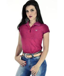 Polo Feminina Radade Mini Print Vinho - 0537