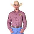 Camisa Cowboy ST Manga Longa Bordada Xadrez Vermelho - 0999