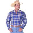 Camisa Masculina Radade Manga Longa Xadrez Bordada CaquiAzul - 0392
