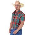 Camisa Radade Manga Curta Xadrez Verde e Vermelho  - 1088