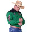 Camisa Radade Manga Longa bordada Vintage cor Verde e Preto - 1228
