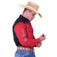 Camisa Radade Manga Longa bordada Vintage cor Vermelho e Preto - 1226